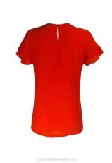 Blusa roja de vestir o para la oficina de manga corta