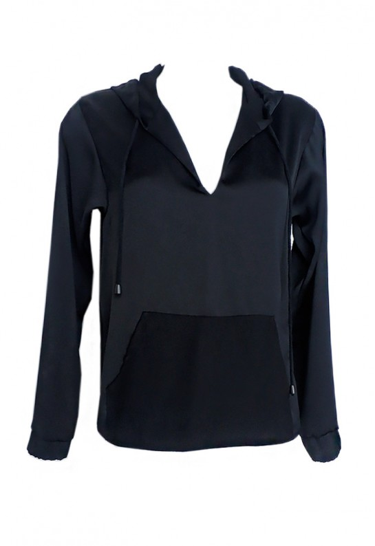 Blusa tipo sudadera negra con bolsillo canguro