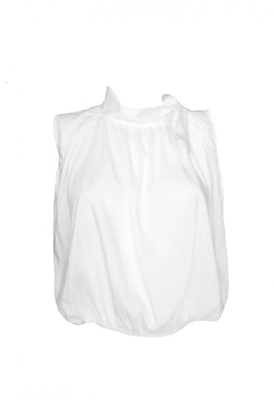 Camisa blanca con lazo en cuello manga sisa y top ceremonia