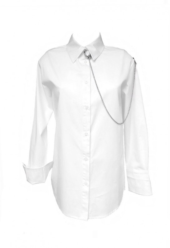 Camisa blanca con manga larga de algodón y con cadena Punk