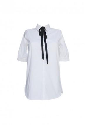 Camisa blanca mujer de manga corta abullonada con lazo cuello