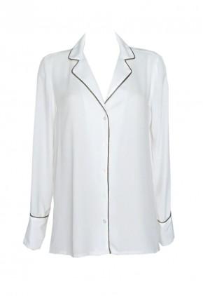 Camisa tipo pijama blanca de manga larga