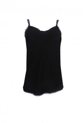 Top lencero encaje en tejido crepé color negro
