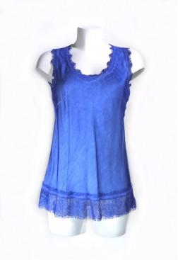 Top lencero tirantes ancho con encaje azul en satén