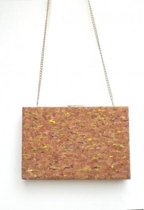 Bolso rígido de mano con corcho estampado líneas y dorado