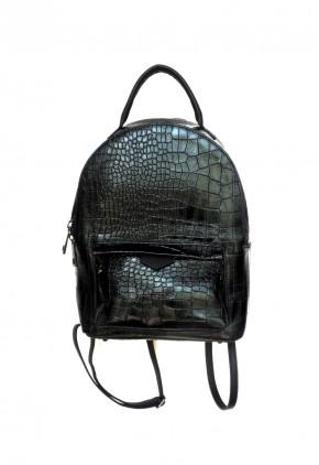 Bolso y mochila rígido negro con grabado efecto piedra
