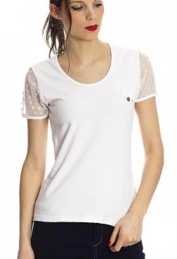 Camiseta algodón blanca con plumeti en mangas de Rosalita Macgee