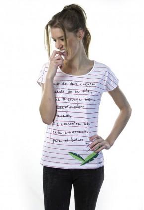 Camiseta con frase de algodón blanca con rayas rosas y cuello redondo