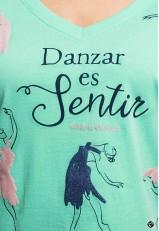 Camiseta con frase de baile verde de algodón