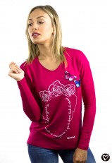 Camiseta cuello pico  y manga larga fucsia con frase Frida Kahlo