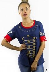 Camiseta mujer con frase graciosa azul y roja