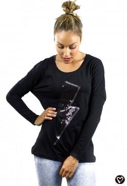 Camiseta rayo de lentejuelas negras y gris con frase