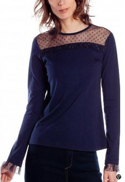 Camiseta rosalita Macgee algodón con encaje azul marino