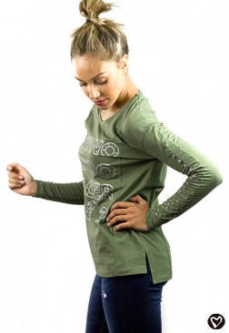 Camiseta verde militar Punk en algodón con frase y manga larga