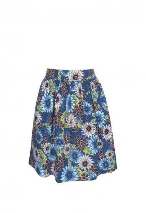 Falda estampada corta con fruncido y bolsillos invisibles